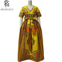 Modern African Print Dresses Dashiki For Elegant V - Neck Classical Print Sleeveless Manufactures