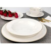 China Exquisite White Porcelain Dinner Sets Tableware With Real Gold Line on sale