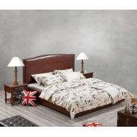 Glassic design of Leisure Bedroom Furniture Upholstered Headboard Bed by True Leather with High density Sponge covered Manufactures