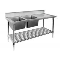 Restaurant Prep Table With Sink 1 / 2 / 3 Sinks Stainless Steel Sink Table Manufactures