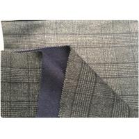 Gray Navy Double Faced Wool Coating Fabric With Houndstooth Pattern 720 G / M Manufactures