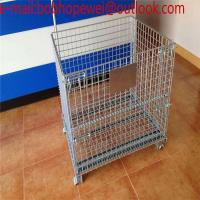 China wire mesh storage container /wire mesh cage/ industrial stackable foldable Steel folding wheeled wire mesh storage cage on sale
