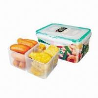 China Rectangle food container with divider (1.2L) on sale