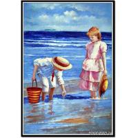 China Wholesale oil painting and custom oil painting with two kids on sale