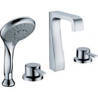 China Double Handle Deck Mount Tub Faucet With Pull Out Hand Shower , Water Saving Faucet on sale
