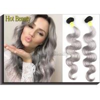 Double Weft 20 inch Brazilian Human Hair Extensions Grey Color No Shedding Manufactures