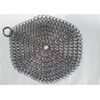 China 7 Inch Stainless Steel Chainmail Scrubber For Cookware Cleaning , Round Shape on sale