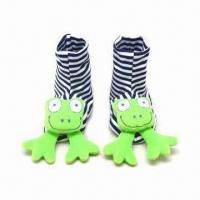 China Soft Toy Head Baby Booties with Rattle, Made of Soft Velour on sale