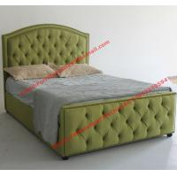 Water green fabric bed by upholstery pad headboard in button and antique nail for Apartment Bedroom suite Manufactures