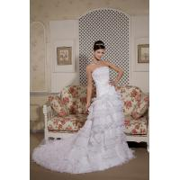 Long Train Mermaid Lace Strapless Mermaid Wedding Gowns Bridal Gown with Beads , White Manufactures