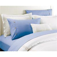 Polyester Cotton Bedsheets in Blue Color Sateen Stripe Flat sheet set 4pcs Manufactures