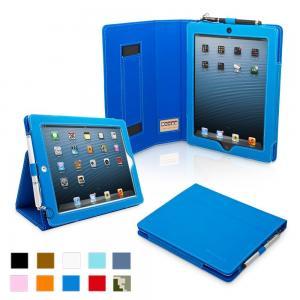 iPad 4 & iPad 3 Case - PU Leather Case Cover Blue Manufactures