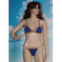 Two pieces hand crochet trims flexible swimwear with many colors for sale