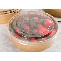 China 12oz 400ml Single Pe Coating Salad Kraft Paper Food Bowl With Lid on sale