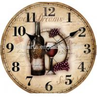 China Wine and glass dreams printing good textured decorative wood wall clock wholesale home decor wood for american crafts on sale