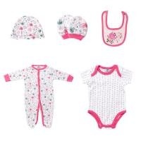 5PCS / Set Footed Rompers Baby 100 Cotton Baby Clothes Gift Set With Hat Manufactures
