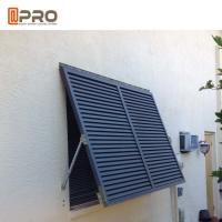 Quality Residential House Aluminum Louver Awning Window Dark Grey Color for sale