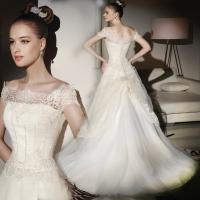 Thin lace ladies square neckline wedding dress / Cap Sleeve wedding dresses with long trains Manufactures