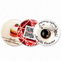 10cm Circular Coasters, Made of 5mm Thick Acrylic, with CMYK Logo and Visual Manufactures