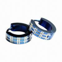 Fashionable Drop Earrings with Pattern and Blue IP Manufactures