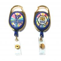 Epoxy Logo Dome Oval Custom Retractable Badge Reels , Badge Reel Clips Manufactures