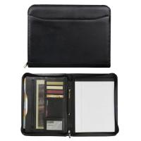 Top Grain Black Leather Zippered Padfolio Manufactures