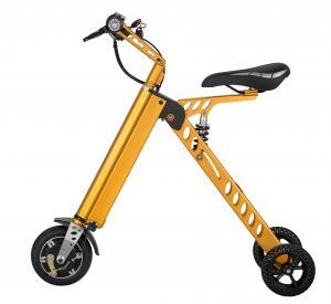 China Yellow Motorized Folding Bike / Smallest Lightest Folding Bike Battery Assisted on sale
