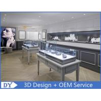Quality Glass Wooden In Gray Jewellery Counter Design With Led Light for sale