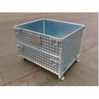 Space Saving Warehouse Equipments Wire Container Storage Cages With Blue Plastic Board Manufactures
