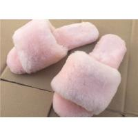 Pink / Gray Ladies Open Toe Sheepskin Slippers With Soft Rubber Sole Manufactures