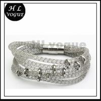 hot sale custom jewelry 2014 new product with silver color stainless steel mesh bracelet Manufactures