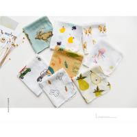 China Custom Printed Pure Cotton Handkerchiefs 100% Cotton 2 Layer Soft Feel Printed Baby Bibs Face Towel on sale