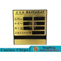 China Blackjack / Poker Casino Table Dedicated Pure Copper Table Limit Sign on sale