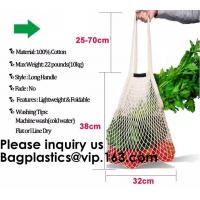 Factory Supplier Cotton Mesh Shopping Net Bag Logo Multi Colors Black White Red Green Blue Handled Shopping Bags Net Manufactures
