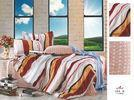 China Red and Brown Stripe Flat Queen Size Custom 100 Cotton Bed Sheet Sets on sale