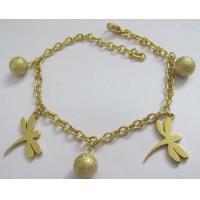 Fashion Jewelry Wholesale Stainless Steel Bracelets with Dragonfly and Ball Charms Manufactures