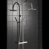 Hand Held Thermostatic Shower Set Round Curved Pole Shower With Gravity Fed System Manufactures