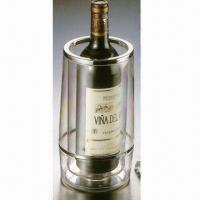 China PS Plastic Double Wall Wine/Bottle Cooler, Nontoxic, Non-caustic and Reusable on sale