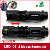 high-quality Mini Black Brand 2000LM Waterproof LED Flashlight 3 Modes Zoomable LED Torch Manufactures