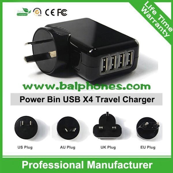Quality UK,EU,US,AU Plug 4 port mobile phone charger 4 Port USB Travel charger for sale