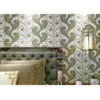 0.53*10m Velvet Textured Wallpaper , White And Green Velvet Wallpaper For Home Decoration Manufactures