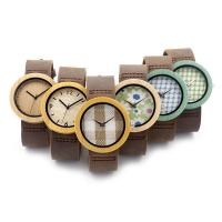 Quality Leather Strap Wholesale Fashion Wooden Cace Watches for sale