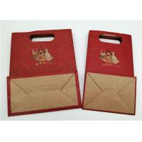 China CMYK Printing Paper Gift Bags With Handle / Food Packaging Brown Paper Bag on sale