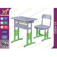 Adjustable Metal Student School Table And Chairs With Skid Resistance Legs Manufactures