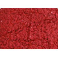 Red Lightweight Lace Overlay Fabric Home Decorator Fabric Cloth Manufactures
