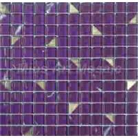 23x23mm Laverder Crystal Glass Mosaic Tiles with Foil Spot (MD007) Manufactures