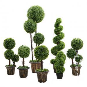 China Anti UV Artificial Boxwood Triplicate Ball Wreath And Spiral Grass Plant Topiary Bonsai Tree on sale