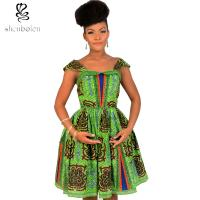 Cute Sleeveless African Print Dresses Batik Printing 100% Cotton Ball Gown Manufactures
