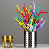 Colorful / Black Coffee Straws , Wedding Party Disposable Plastic Straws Manufactures