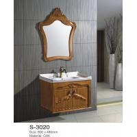 Solid Oak Wood Bathroom Vanity Cabinets With Tops Single Sink Soft Close Drawers Manufactures